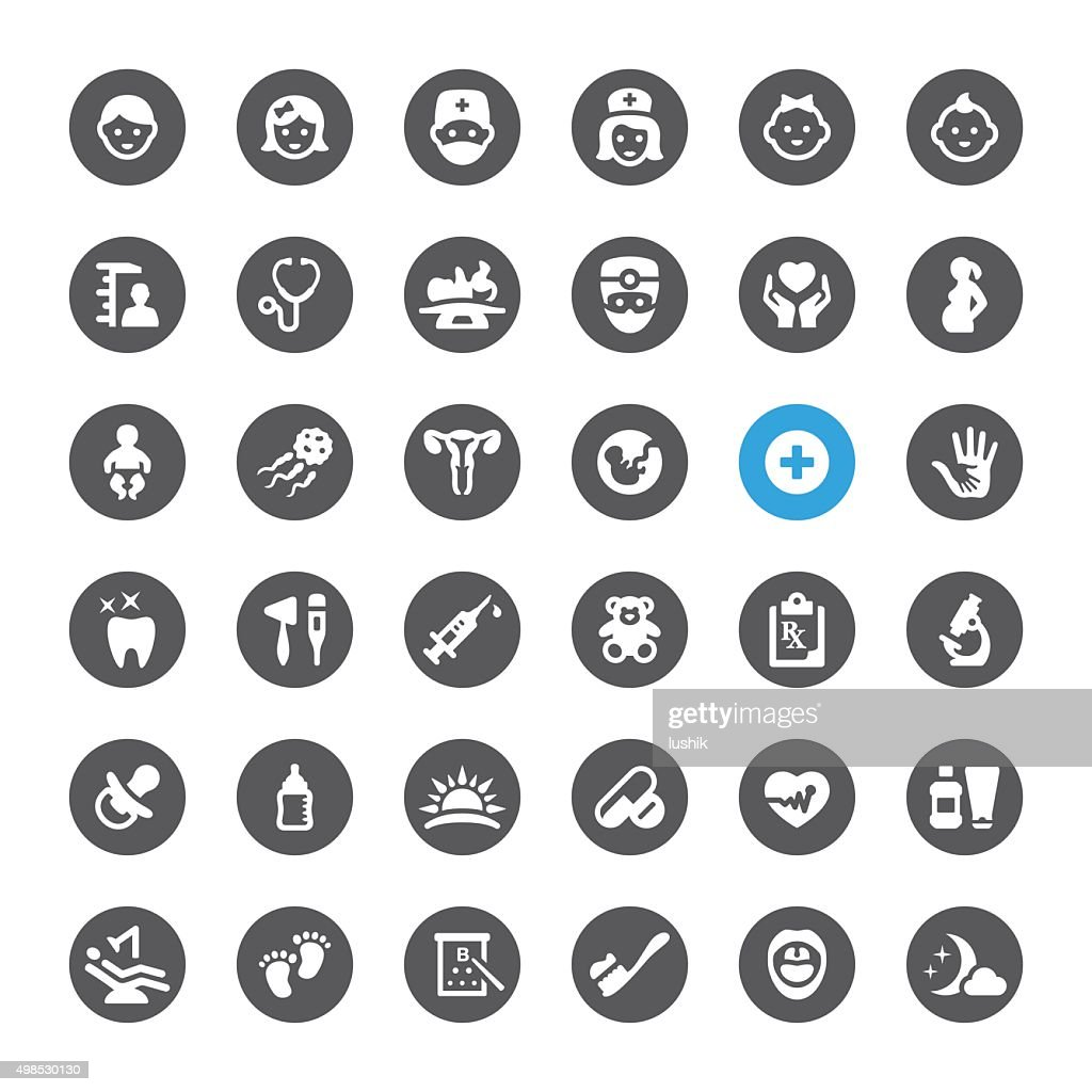 Healthcare and Pediatrician related vector icons