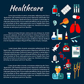 Healthcare banner design with flat medical icons