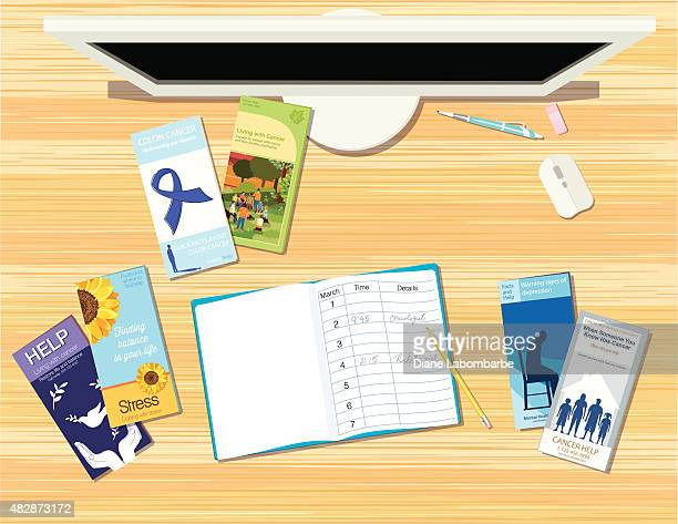healthcare brochures and pamphlets spread out on a desk. - oncology stock illustrations, clip art, cartoons, & icons