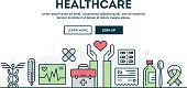 Healthcare, colorful concept header, flat design thin line style