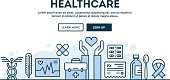Healthcare, concept header, flat design thin line style
