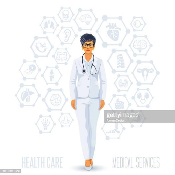 ヘルスケアのコンセプト - 小児科医点のイラスト素材/クリップアート素材/マンガ素材/アイコン素材