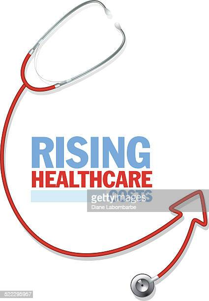 healthcare costs red arrow concept - fee stock illustrations