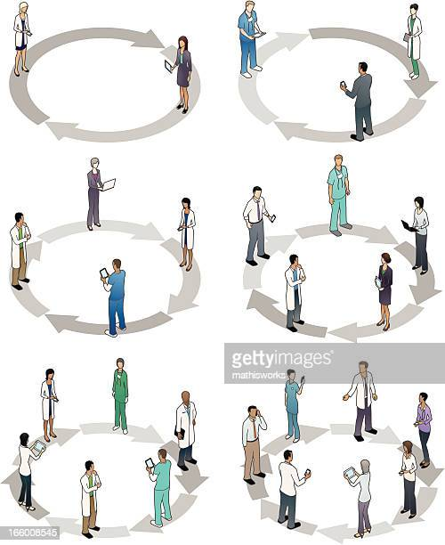 healthcare cycle diagrams - mathisworks business stock illustrations