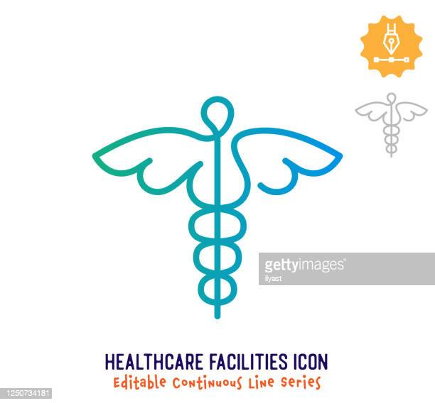 illustrazioni stock, clip art, cartoni animati e icone di tendenza di strutture sanitarie linea continua linea modificabile linea ictus - alla moda