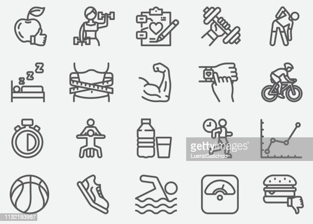 healthcare fitness and exercising line icons - tape measure stock illustrations, clip art, cartoons, & icons