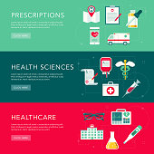 Healthcare Flat Design Web Banners Set