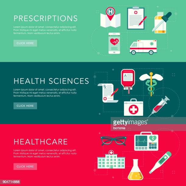 Healthcare Flat Design Web Banners Set