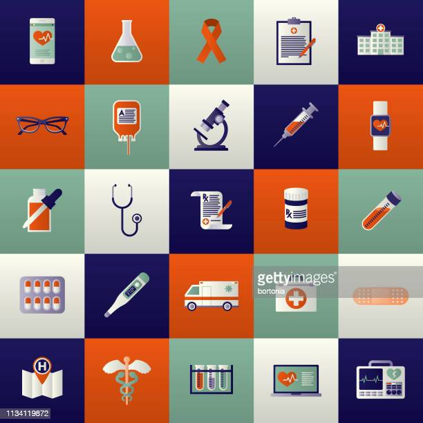 healthcare icon set - illness stock illustrations