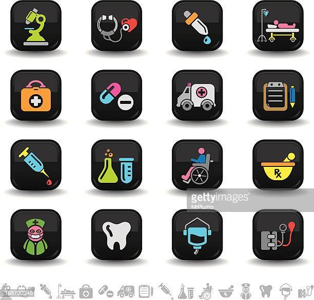 ilustraciones, imágenes clip art, dibujos animados e iconos de stock de iconos/serie bbton atención médica - enfermera
