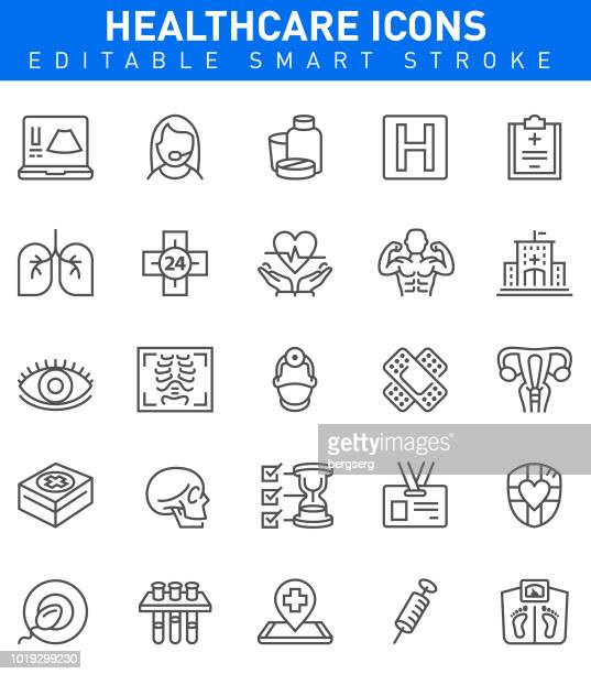 healthcare icons. editable stroke - cancer illness stock illustrations