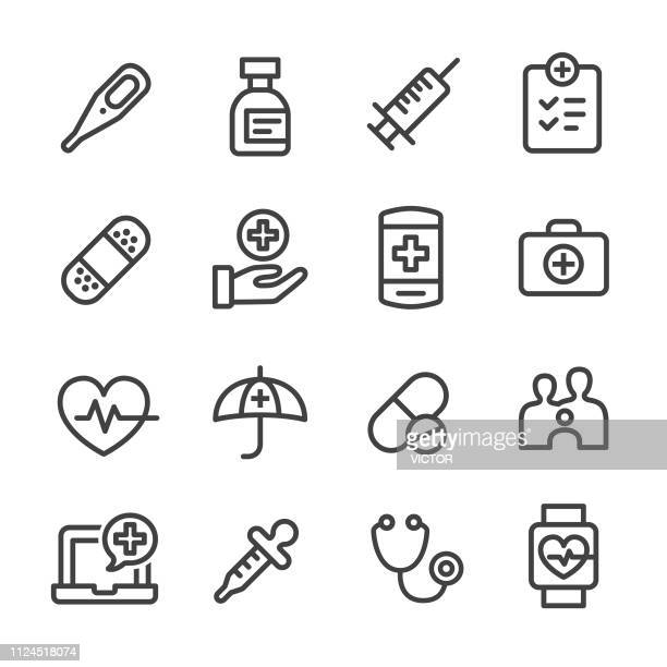 healthcare icons - line series - injecting stock illustrations