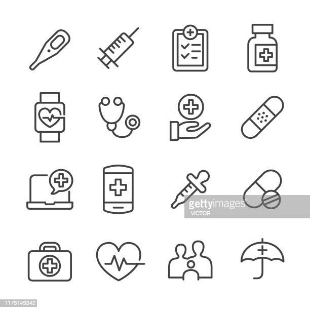 healthcare icons - line series - first aid stock illustrations
