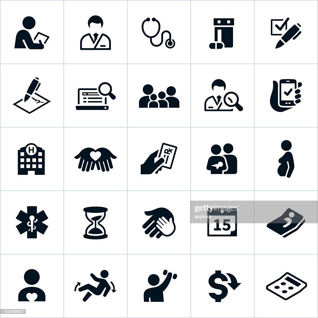 Ícones de seguro de saúde : Ilustração