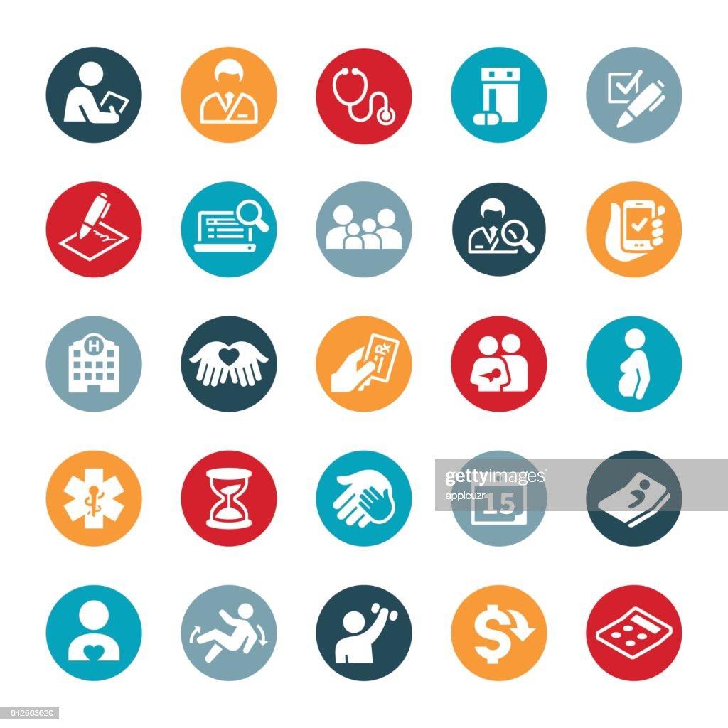 Iconos de seguros de salud : Ilustración de stock