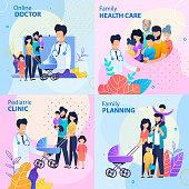 Healthcare Lettering Flat Promotion Banner Set