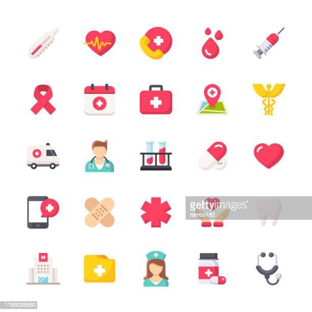 ilustraciones, imágenes clip art, dibujos animados e iconos de stock de iconos planos de la línea de atención médica. iconos de diseño de materiales. píxel perfecto. para móviles y web. contiene iconos como hospital, doctor, enfermera, ayuda médica, dental - asistencia sanitaria y medicina