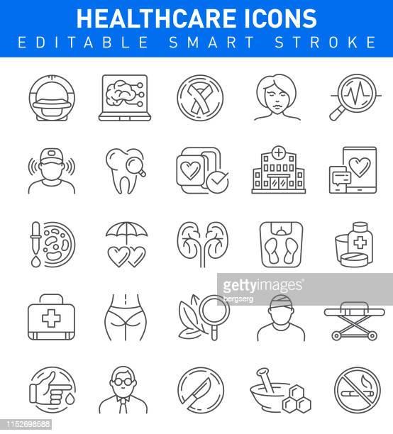illustrations, cliparts, dessins animés et icônes de icônes de ligne de soins de santé. collection de traits modifiables - chirurgie esthetique