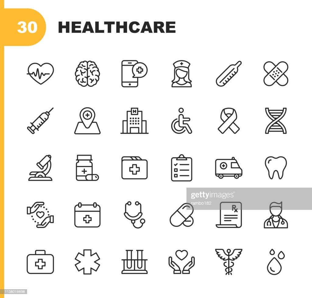 Icone della linea sanitaria. Tratto modificabile. Pixel Perfetto. Per dispositivi mobili e Web. Contiene icone come Ospedale, Medico, Infermiera, Assistenza Medica, Odontoiatria : Illustrazione stock