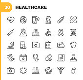 Healthcare Line Icons. Editable Stroke. Pixel Perfect. For Mobile and Web. Contains such icons as Hospital, Doctor, Nurse, Medical help, Dental
