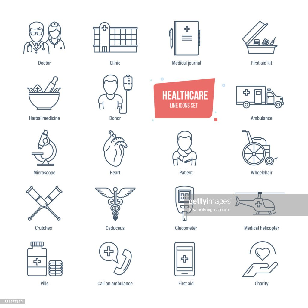 Healthcare line icons set. Healthcare system and medical diagnostic equipment