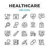 Healthcare line icons set. Modern outline elements, graphic design concepts. Stroke, linear style. Simple symbols collection. Vector line icons
