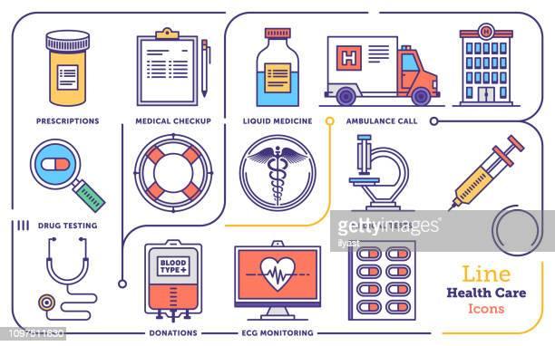 ilustraciones, imágenes clip art, dibujos animados e iconos de stock de conjunto de iconos de línea plana de vector de gestión de salud - farmacia