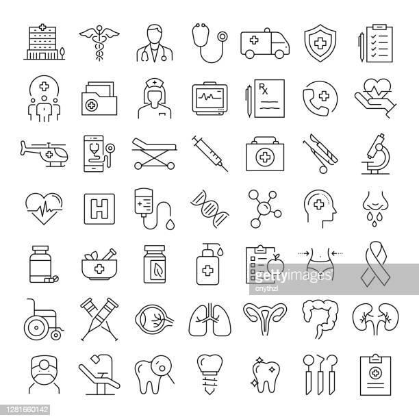 illustrazioni stock, clip art, cartoni animati e icone di tendenza di sanità, medicale, dentale, concetti farmaceutici icone di linea moderna - farmacia