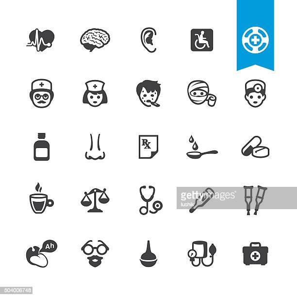 Healthcare, Medicine and Therapy related vector icons