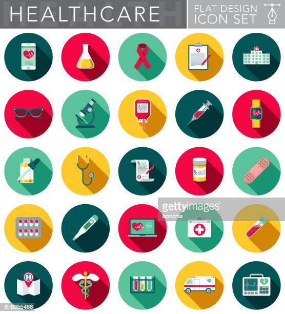 healthcare & medicine flat design icon set with side shadow - smart watch stock illustrations