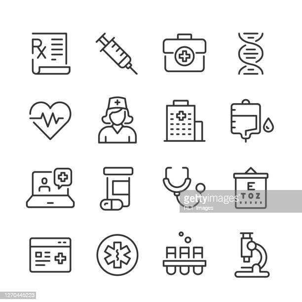 ヘルスケア&メディシンアイコン — モノラインシリーズ - 医療研究所点のイラスト素材/クリップアート素材/マンガ素材/アイコン素材