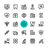 Healthcare, medicine line icons set. Modern graphic design concepts, simple outline elements collection. 32x32 px. Pixel perfect. Vector line icons