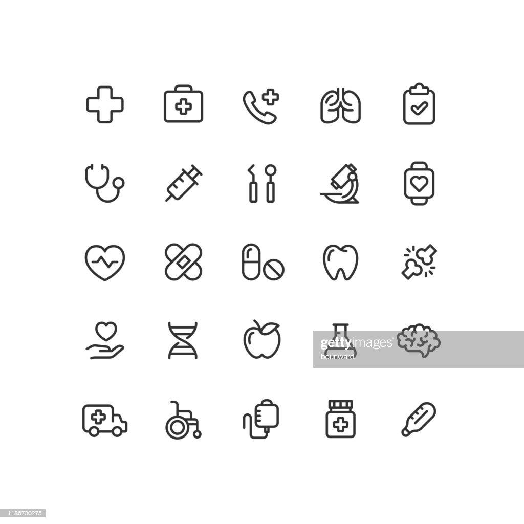 Saúde e Medicina delineiam ícones : Ilustração