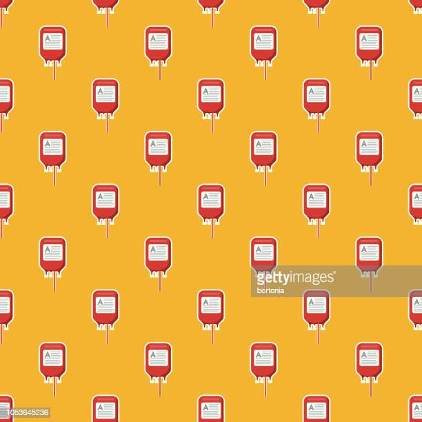healthcare & medicine seamless pattern - blood bag stock illustrations, clip art, cartoons, & icons