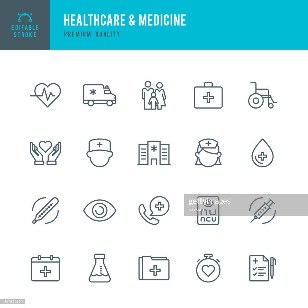 Healthcare & Medicine - set of thin line vector icons : stock vector