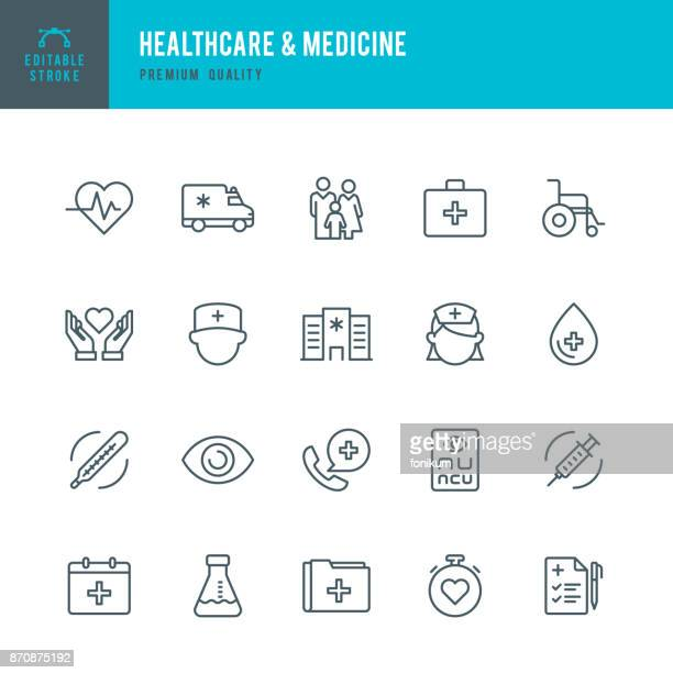 healthcare & medicine - set of thin line vector icons - heart symbol stock illustrations