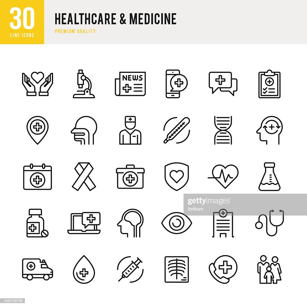 Healthcare & Medicine - Thin Line Icon Set : Stockillustraties