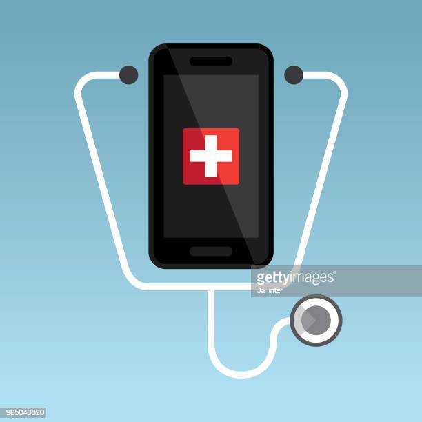 healthcare mobile - locator map stock illustrations