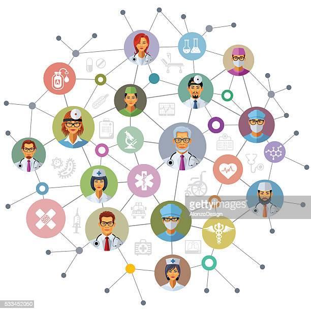 ilustraciones, imágenes clip art, dibujos animados e iconos de stock de red de atención médica - trabajador sanitario