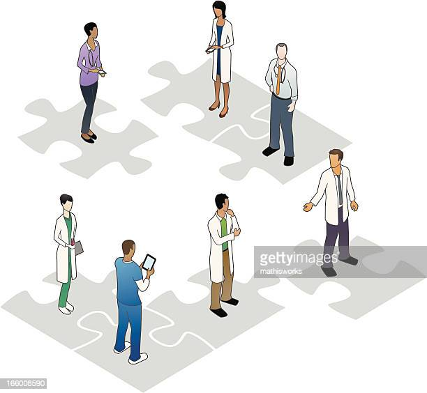 Healthcare People on Puzzle Pieces