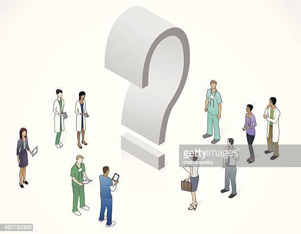 healthcare question mark illustration - mathisworks healthcare stock illustrations