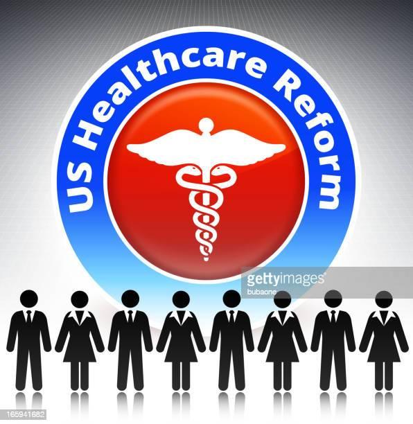 ilustrações, clipart, desenhos animados e ícones de reforma da assistência médica conceito stick figura - reforma assunto