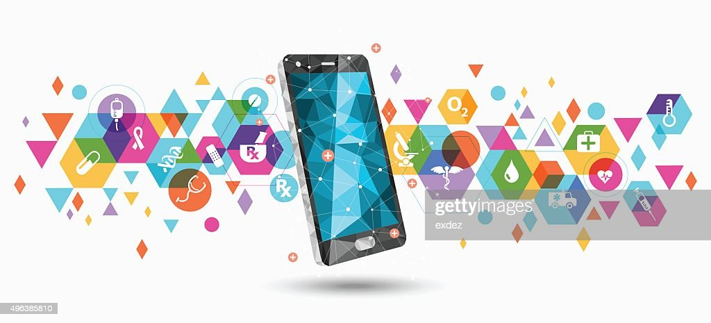 Healthcare service apps on smartphone : Stockillustraties