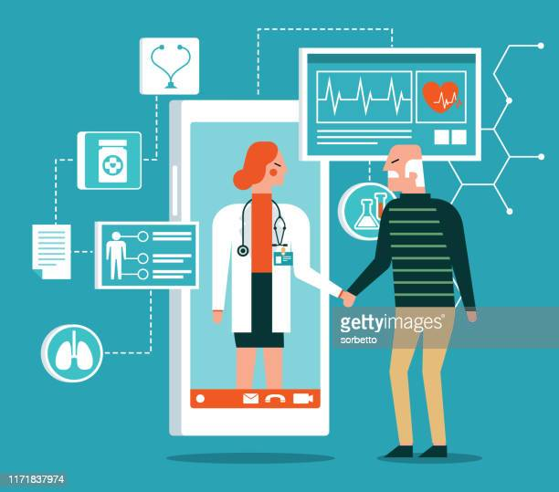 healthcare service - online - old patient - body care stock illustrations