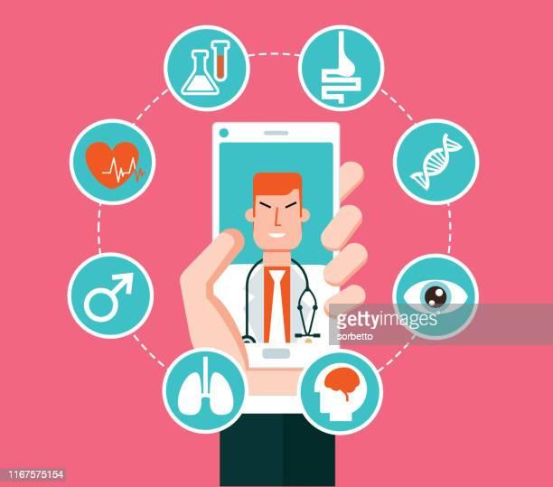 illustrations, cliparts, dessins animés et icônes de service de santé en ligne - smartphone - hopital batiment