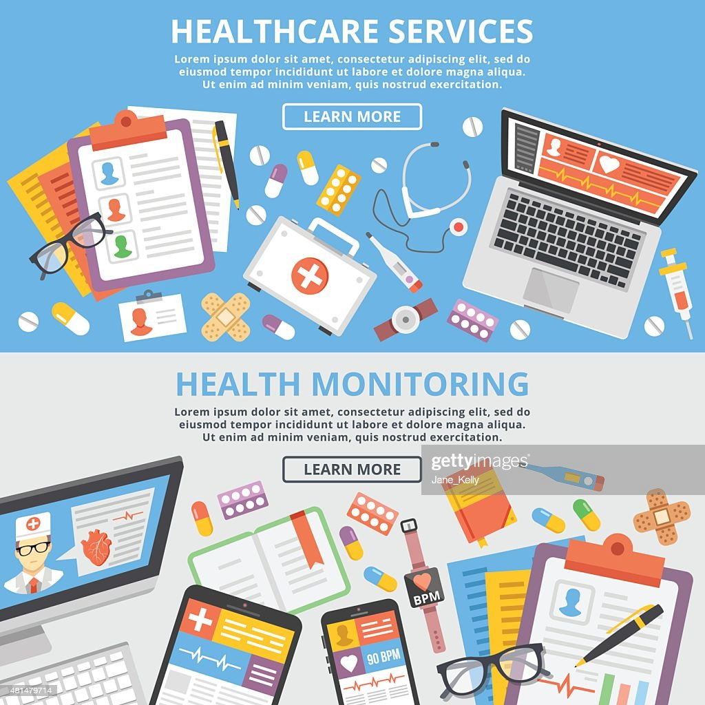 Healthcare services, health monitoring, research flat illustration concepts set