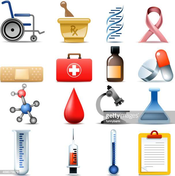 healthcare set - accessibility stock illustrations, clip art, cartoons, & icons