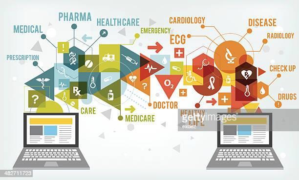 ilustraciones, imágenes clip art, dibujos animados e iconos de stock de compartir tecnología de la atención médica - cardiólogo