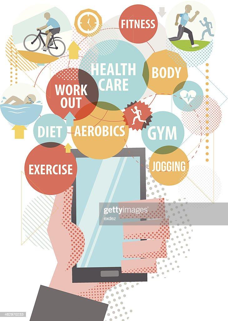 Healthcare using Smartphone : stock illustration