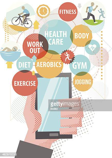 healthcare using smartphone - body conscious stock illustrations, clip art, cartoons, & icons